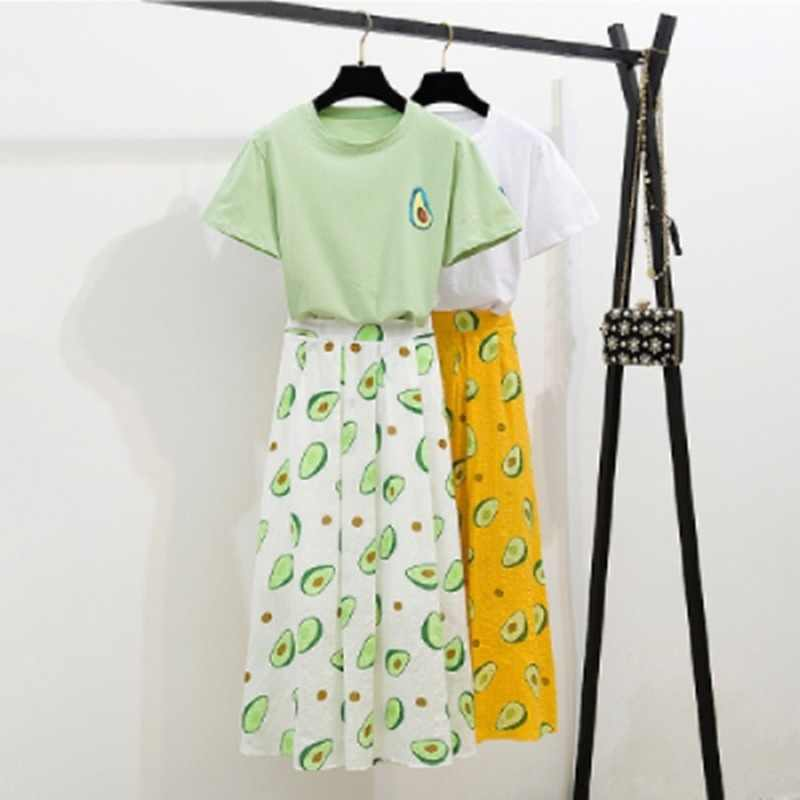 Donne fresche Top Gonne Set Avocado Stampa T-Shirt Verde Magliette e camicette 2 pcs Skirt Set casual Estate Abiti Partita 2019 per dropshipping