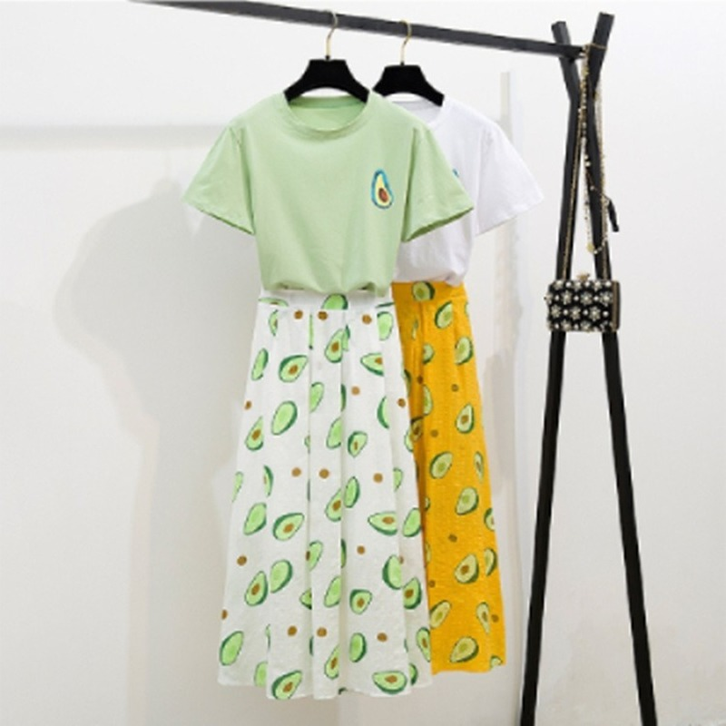 Fresh Women Top Skirts Sets Avocado Print Green T-shirt Tops 2 Pcs Skirt Set Casual Summer Outfits Match 2019 For Dropshipping