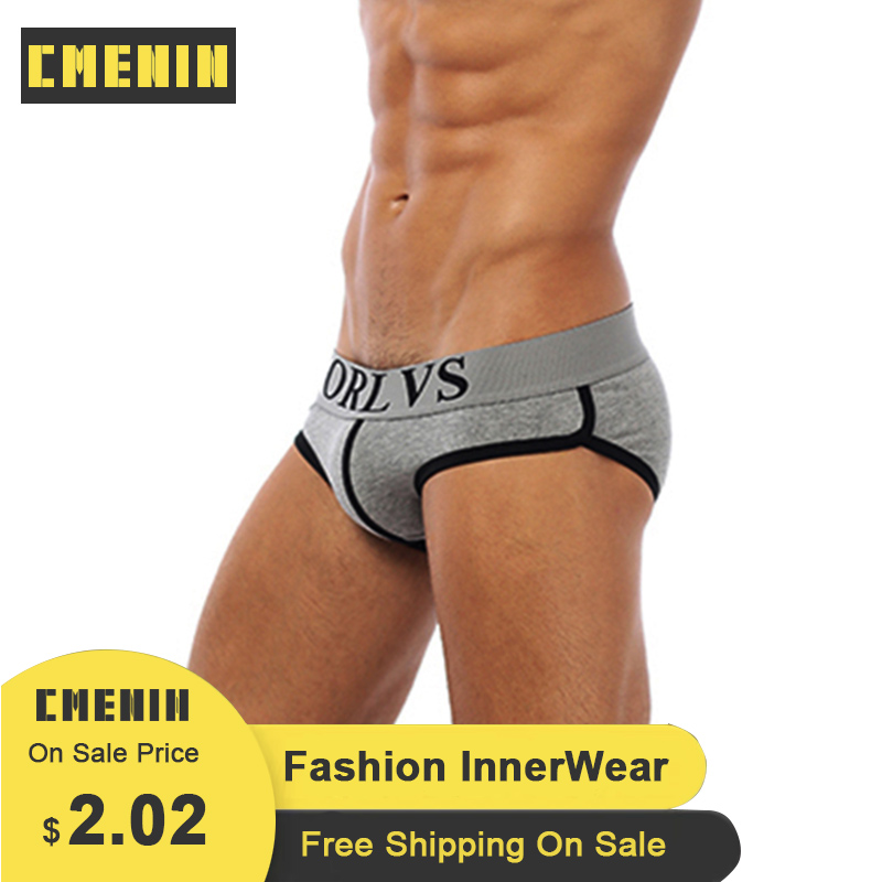 Brand Sexy Men Undrewear Briefs Gay Mens Bikini Slip Men Cotton Stripe 3D Pouch Underwear 4 Colors M-XXL OR73