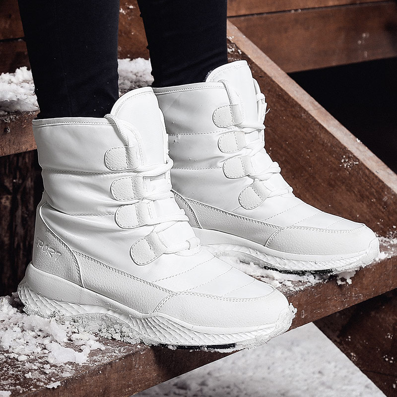 ERNESTNM Women Boots Winter White Snow Boot Short Style Water-resistance Upper Non-slip Quality Plush Black Botas Mujer Invierno