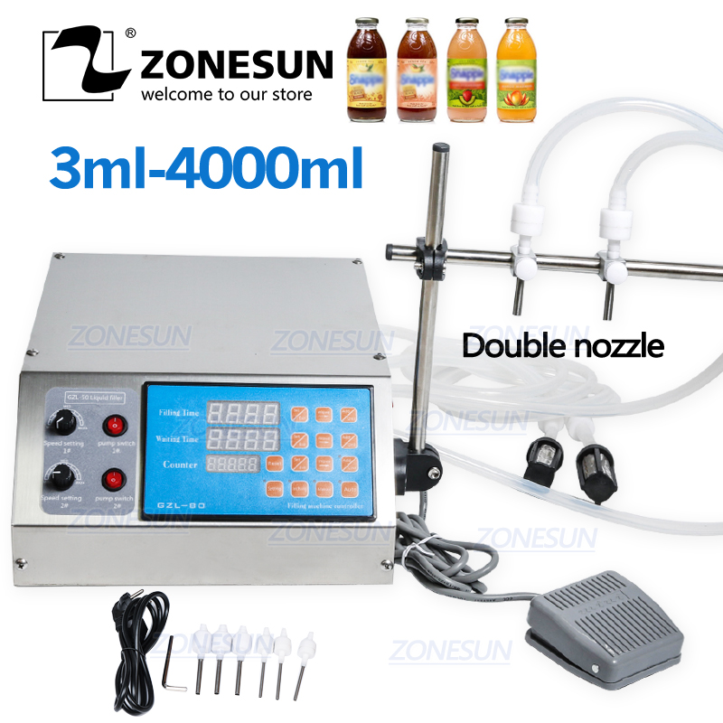 ZONESUN Electric Digital Control Pump Liquid Filling Machine 0.5-4000ml For Liquid Perfume Water Juice Essential Oil With 2 Head