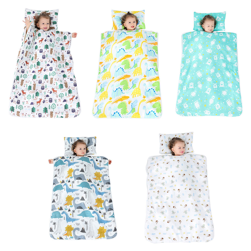 Kid Nap Mat Toddler Cotton Nap Pad For Preschool Daycare Kindergarten Travel Removable Pillow Sleeping Bag