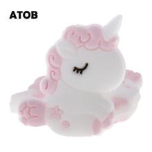 ATOB 30PCS Silicone Unicorn Beads Kawaii Silicone Bead Necklace Teething Baby Toy Silicone Teething Beads Bpa Free Graymint