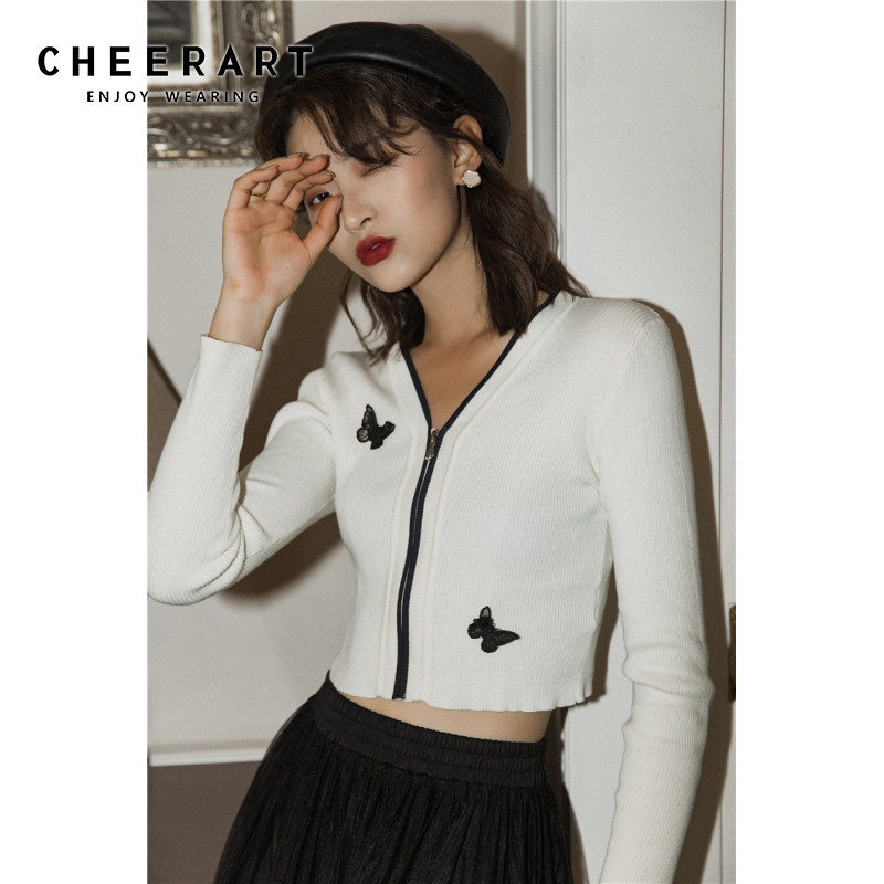 CHEERART Cropped Cardigan Women White V Neck Knitted Sweater Cable Knit Cardigan Butterfly Appliques Short Cardigan