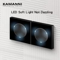 Presa per interruttore a parete in vetro KAMANNI con interruttori a pulsante USB interruttori a 2 vie pannello in cristallo a 2 vie interruttori neri Standard ue