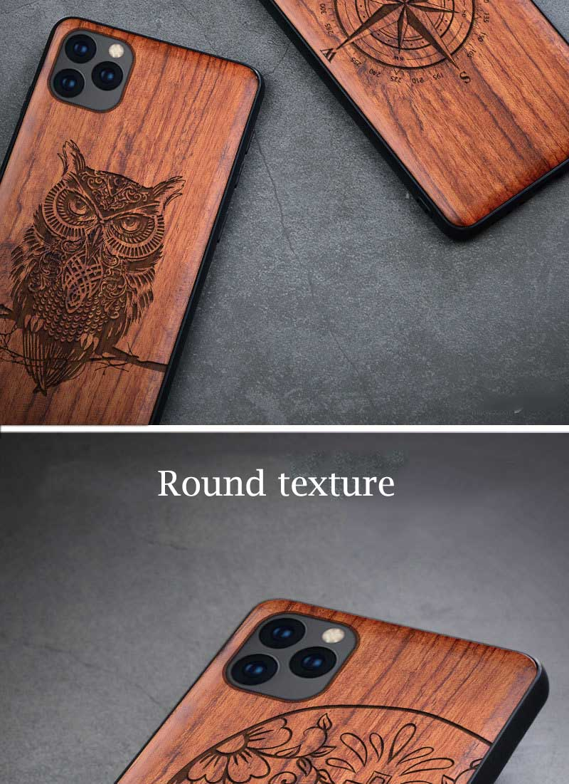 All-inclusive Emboss Solid Wood Carving Protective Cover Case For iPhone 12
