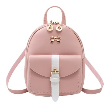 Women's Mini Backpack Luxury PU Leather Kawaii Backpack Cute Graceful Bagpack Small School Bags for Girls Bow-knot Leaf Hollow 1