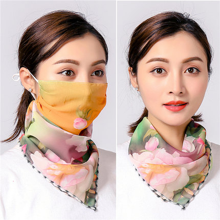 New Neck Breathable Mask Riding Mouth Scarf Anti-UV Chiffon Thin Bandana Women Sunscreen Multi-function Face Scarf Ring Wraps