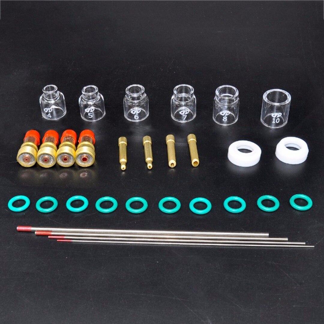 30 teile/los Praktische Wig-schweißen Kit Taschenlampe Stubby Tig Gas Len Glas Tasse Wolfram Nadel für WP17/18/ 26 Mayitr Schweißen Zubehör