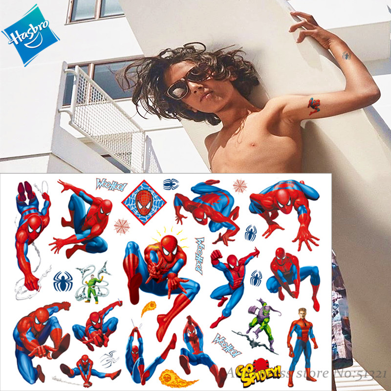 Hasbro Marvel  Batman Spiderman Hulk Children Cartoon Temporary Tattoo Sticker For Boys Cartoon Toys Waterproof Party Kids Gift