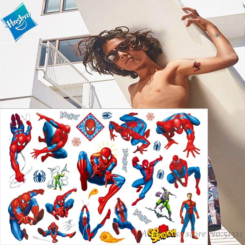 Hasbro Marvel  Batman Spiderman Hulk Children Cartoon Temporary Tattoo Sticker For Boys Cartoon Toys Waterproof Party Kids Gift