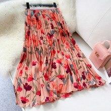 New 2019 Women Chiffon Skirt Summer Flower Elegant Pleated Ladies Vintage High Waist Long Skirts