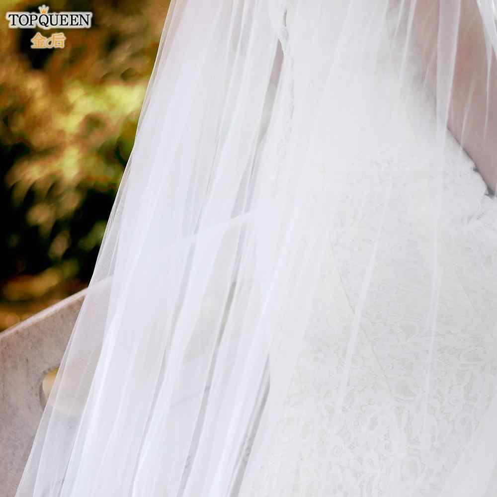 TOPQUEEN 화이트 레이스 여성 케이프 베일 레이스 Organza 꽃 긴 웨딩 케이프 신부 랩 300cm 긴 기차 Shawls 망토 G24