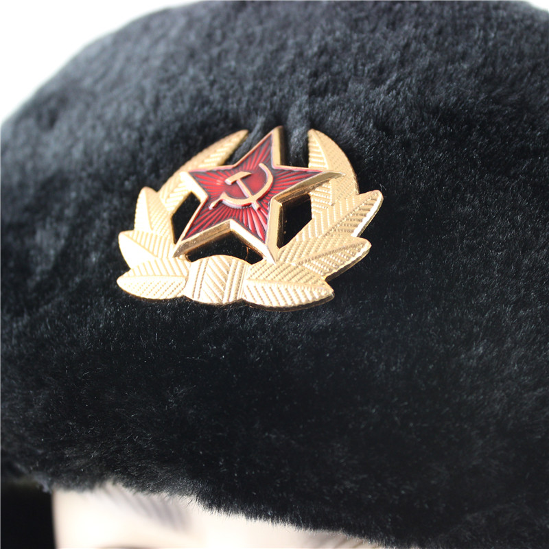 Soviet Army Military Badge Russia Ushanka Bomber Hats Pilot Trapper trooper Hat Winter Faux Rabbit Fur Earflap Men Snow Caps 2
