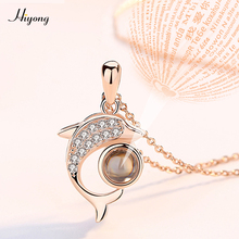 Love You Necklace 100 Languages I The Memory of Dolphin Pendant Nanotechnology for Women Jewelry