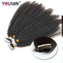 Afro Kinky Curly Tape In Extensions Human Hair 8-30 Inch Skin Weft Mongolian Virgin Hair For Black Women Bundles Weave YouMay
