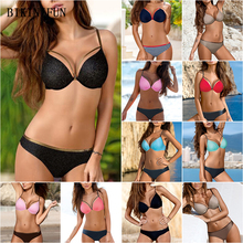 New Sexy Mesh Bikini Women Swimsuit Solid Color Bathing Suit Gather Underwire Swimwear S-2XL Girl Mini Bikini 2 Piece Bikini Set