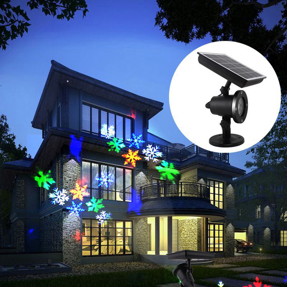 Projecteur Laser LED à alimentation solaire en mouvement flocon de neige lumière Disco étanche scène de noël lumières lampe de paysage de jardin en plein air