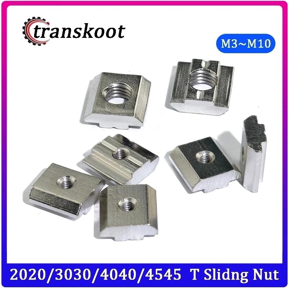 10-100pcs M3 M4 M5 M6 M8 T Block Square nuts T-Track Sliding Hammer Nut for Fastener Aluminum Profile 2020 3030 4040 4545
