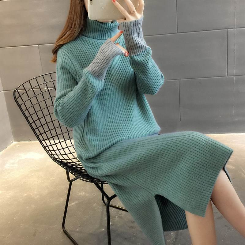2019 Autumn And Winter New Style Korean-style High Collar Dress Sweater Women's Mid-length Knitted Base Skirt Thick Warm Student