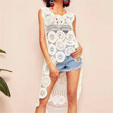 Bkning Long Swallowtail Cover Up Beach Woman Crochet Spring Summer Party Dress for Women Bikini Cover-Up Solid Hollow Out White