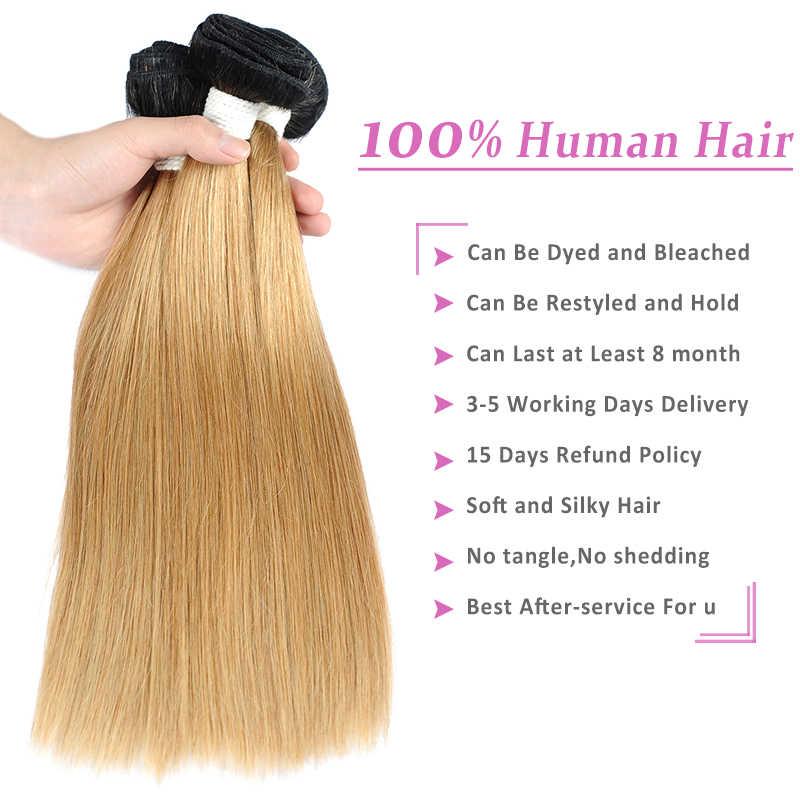 Mechones de cabello humano rubio miel con cierre 1b/27 mechones de cabello humano postizo con cierre de encaje Pinshair no remy pre-desplumado