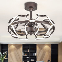 Modern ceiling fans with lights for Living Bedroom Kitchen ceiling fan lamp Acrylic Leaf Black Color ceiling fan lamp fixtures