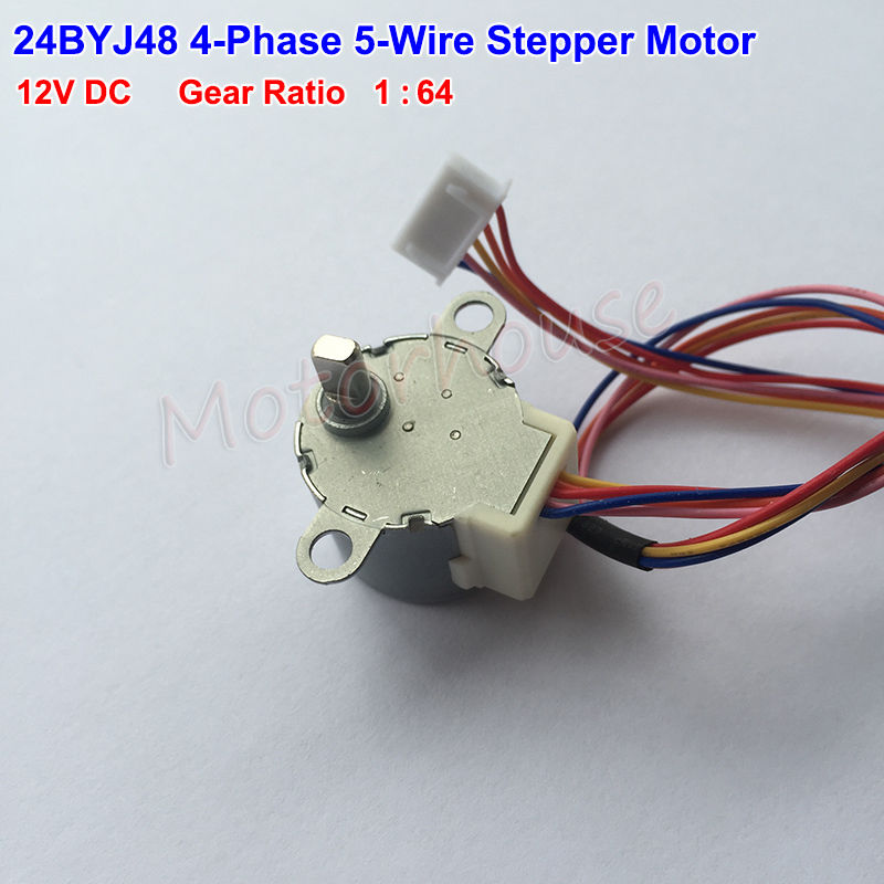 <font><b>24BYJ48</b></font> DC <font><b>12V</b></font> Micro Gear Stepper Motor 4 Phase 5 wire Geared box Reduction Air Conditioner Stepping Motor Gear Ratio 1:64 image