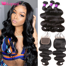 Aopusi Body Wave Bundles With Closure Brazilian Human Hair Weave Bundles With Closure Remy Hair Extension 3 Bundles With Closure