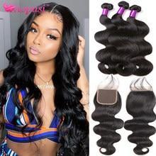 Aopusi Body Wave Bundles With Closure Brazilian Human Hair Weave Bundles With Closure Remy Hair Extension 3 Bundles With Closure
