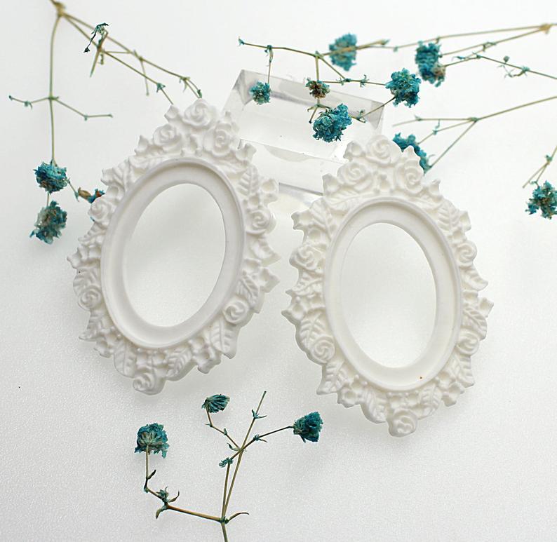 30pcs 30mmx40mm Flower Resin Cameo Frame Setting Base In White