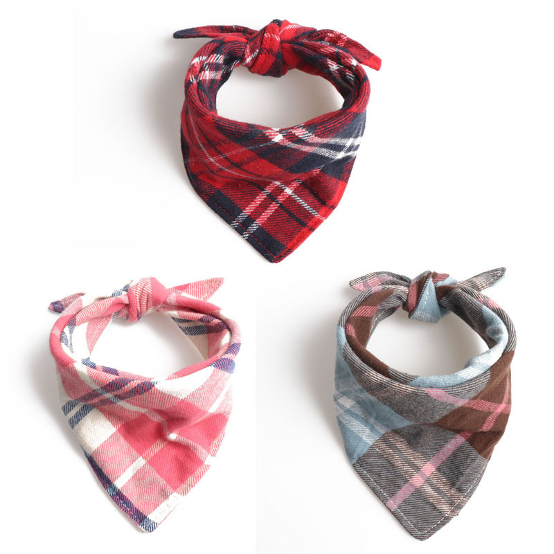 Jin Jie Te New Products Pet Collar Plaid Bandage Cloth Triangular Binder Bibs Double Layer Thick Cotton Cloth Dog Scarf