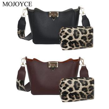 2 unids/set leopardo Bolso de hombro bolsos de mano de Mujer de cuero bandolera monedero de moda Bolso Mujer 2019 nuevo Messenge