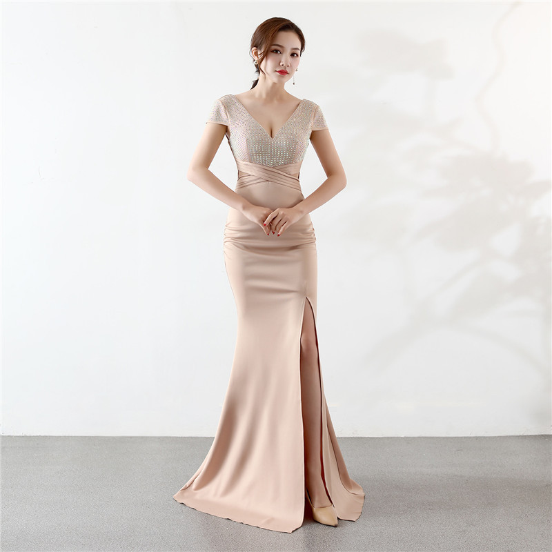 Champagne V Neck Long Evening Dress 2020 Sexy Party Rhinestone Decoration Zipper Backless Women Vestido De Noche Mermaid Gown