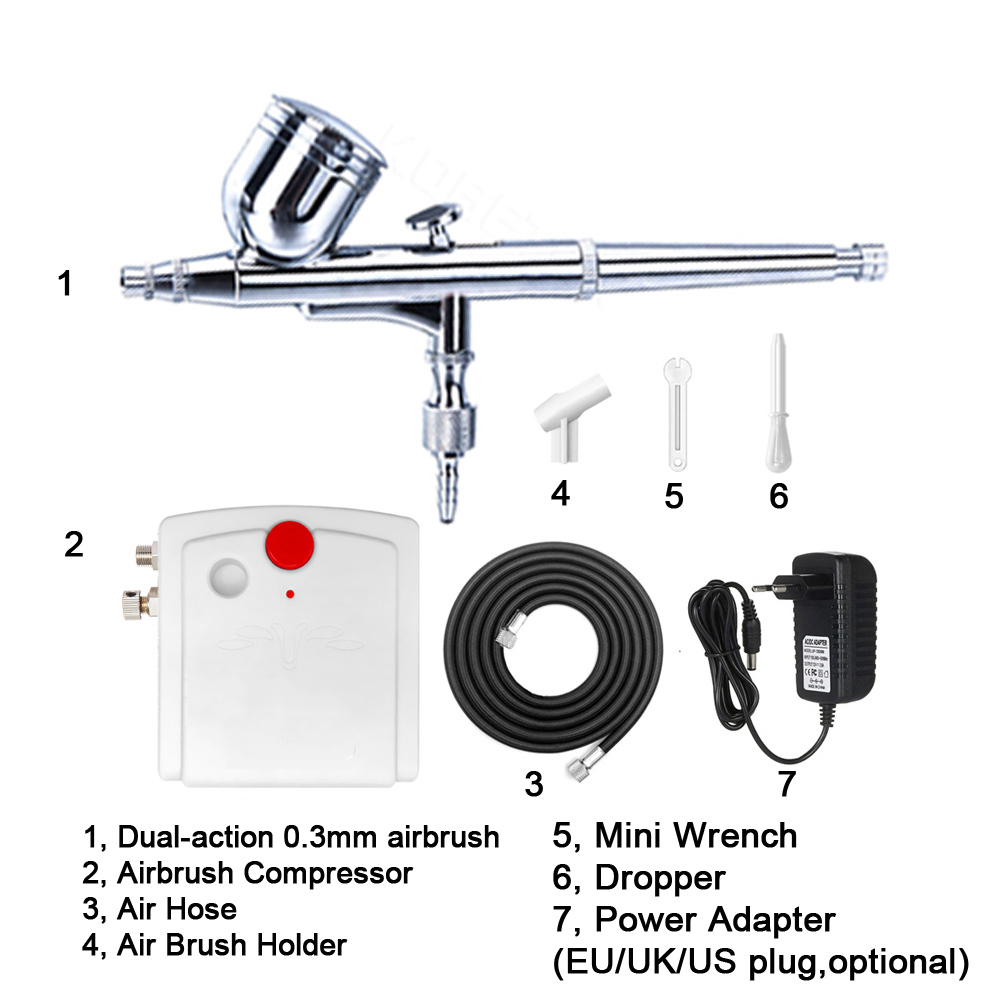 Mini Action Air Brush Airbrush 0.3mm Kit Gun Compressor Paint Art Nail Art