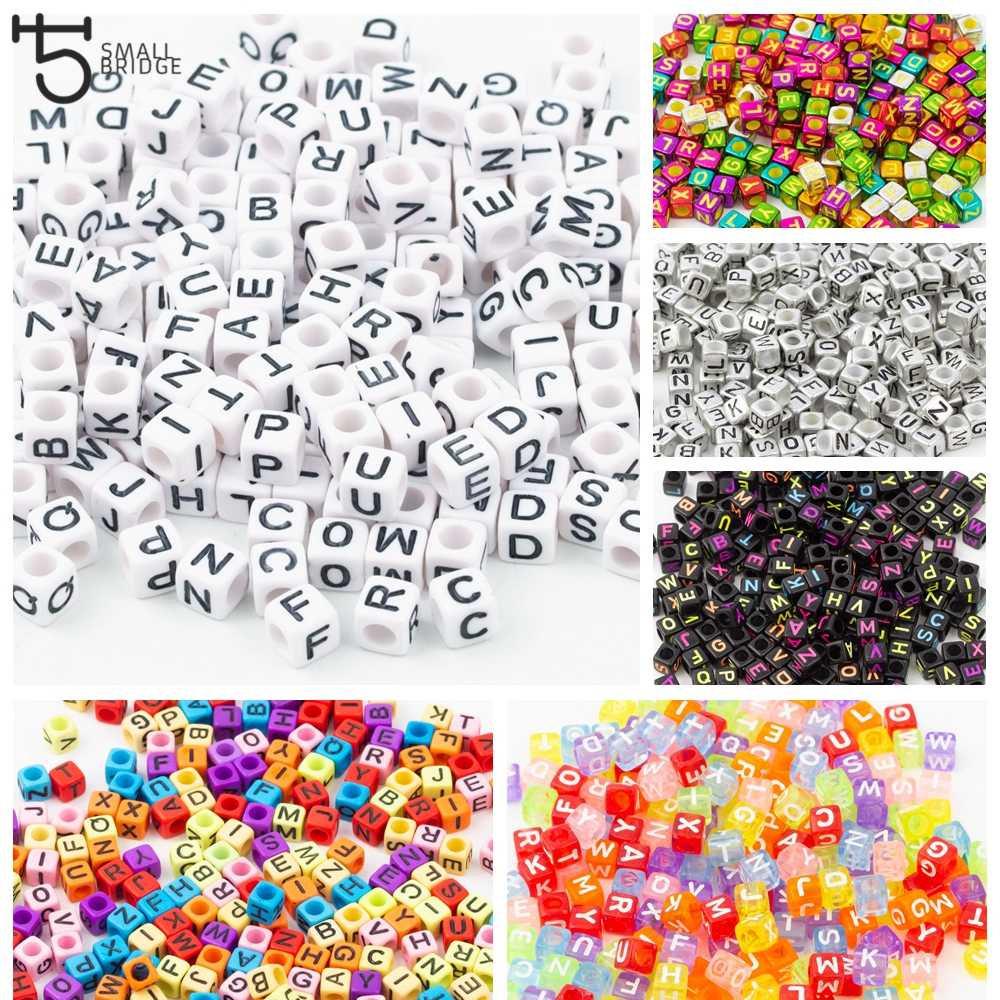 200pcs Acrylic Cube Letter Beads For Jewelry Making DIY Accessories  For Jewelry Alphabet Loose Spacer Beads Wholesale P611
