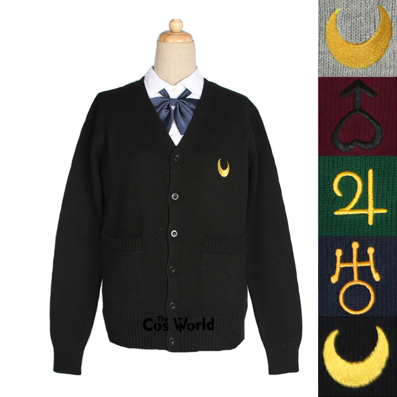 Sailor Moon Spring Autumn Long Sleeve Knit Cardigan V Neck Sweater Outwear Jacket Coat For JK School Uniform Student Clothes