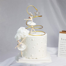 Happy Birthday White Elegant Ballet Girls Decoration Cake Topper Wedding Bride and Groom for Baking Party Supplies Love Gifts