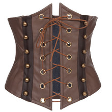 Brown Faux Leather Gothic Steampunk Corsets Sexy Underbust Waist Cincher Overbust Corset And Bustiers Women Corpete