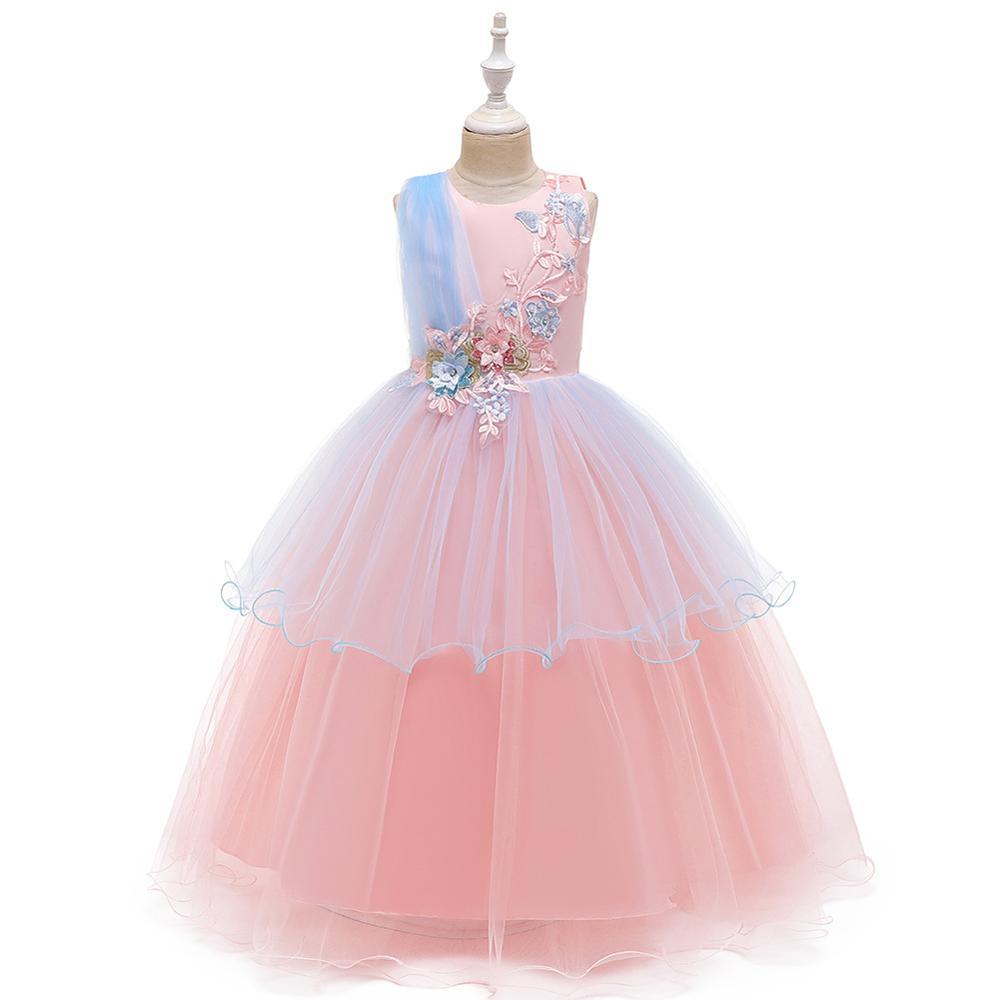 Flower Girl Dresses Tulle 2019 Appliqued Pageant Dresses For Girls First Communion Dresses Kids Prom Dresses