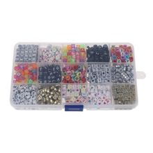 1100pcs 15 Color Acrylic Alphabet Letter Beads with 1 Roll Crystal String