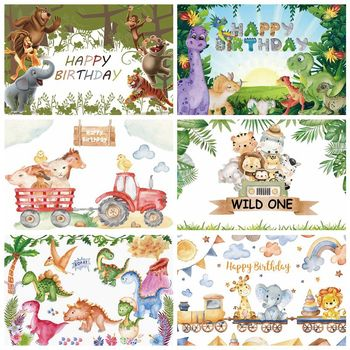 Laeacco Newborn Baby Birthday Party Photography Backdrop Tropical Jungle Forest Safari Personalized Background