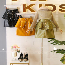 Children's wear 2019 autumn and winter wear new Korean girls avocado green pu leather skirt