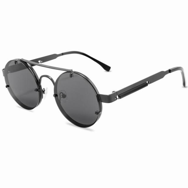 Round Steampunk Sunglasses Men 2020 Fashion Elastic Teaples Brand Designer Vintage Rimless Sun Glasses For Women Lentes De Sol