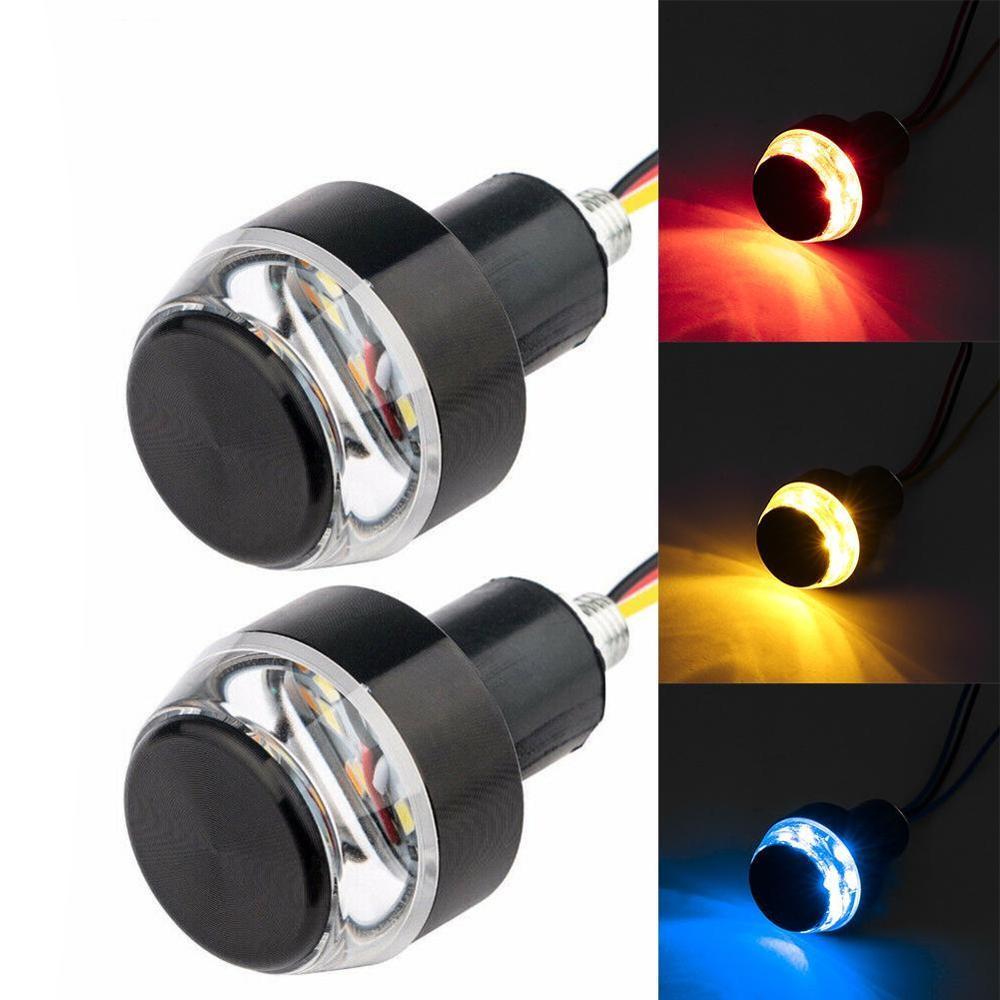 2PCS LED Motorcycle Handlebar End Turn Signal Light Yellow Universal 22mm Indicator Flasher Handle Bar Blinker Side Marker Lamp