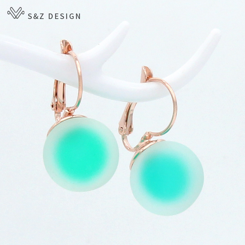 S&Z DESIGN Korean Fashion Big Round Dangle Earrings For Women Jewelry Trendy Personality Simple 585 Rose Gold White Gold Eardrop(China)