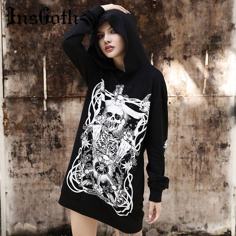 InsGoth Women Hoodies Harajuku Grunge Gothic Skull Printed Hooded Sweatshirts Loose Black Hooded Pullover Streetwear Fashion Top