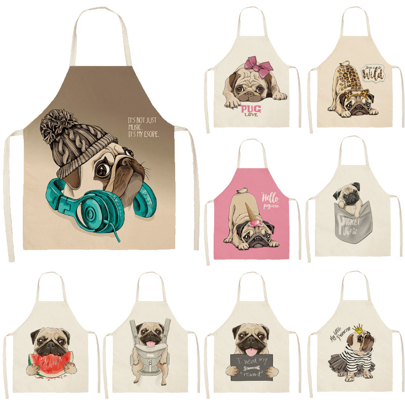 Cute Dog Pug Pattern Cotton Linen Sleeveless Apron Kitchen Aprons Women Home Cooking Baking Waist Bib Pinafore 53*65cm WQL0152