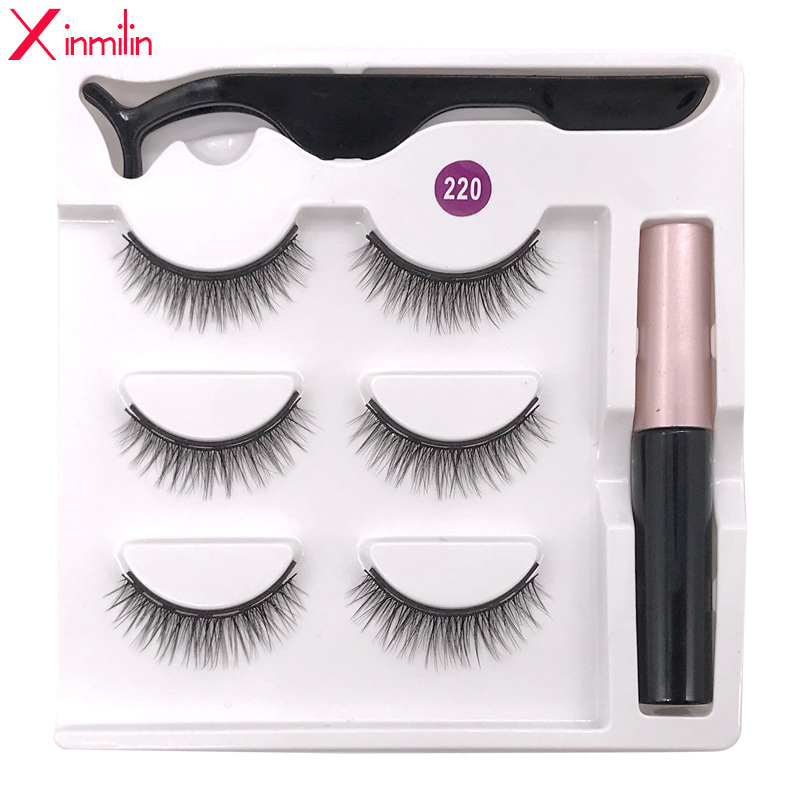 3 Pairs 5 Magnet Eyelash Magnetic Liquid Eyeliner Magnetic False Eyelashes Tweezer Set Waterproof Long Lasting Eyelash Extension