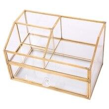 Nordic metalowe szklane pudełko do przechowywania kosmetyków szuflady organizator pulpit odporny na kurz wacik pudełko na chusteczki toaletka półka Decor